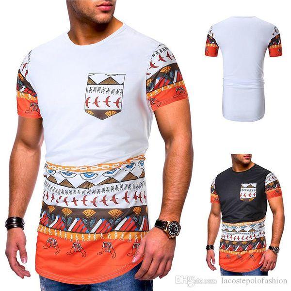 Etnik Tarzı Baskı Cep Nefes Erkek Tişörtleri Ile Moda Yaz Kısa Kollu Ekip Meck Erkek Tees