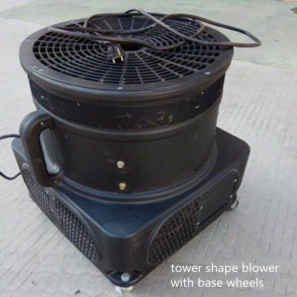 com ventilador de forma de tubo