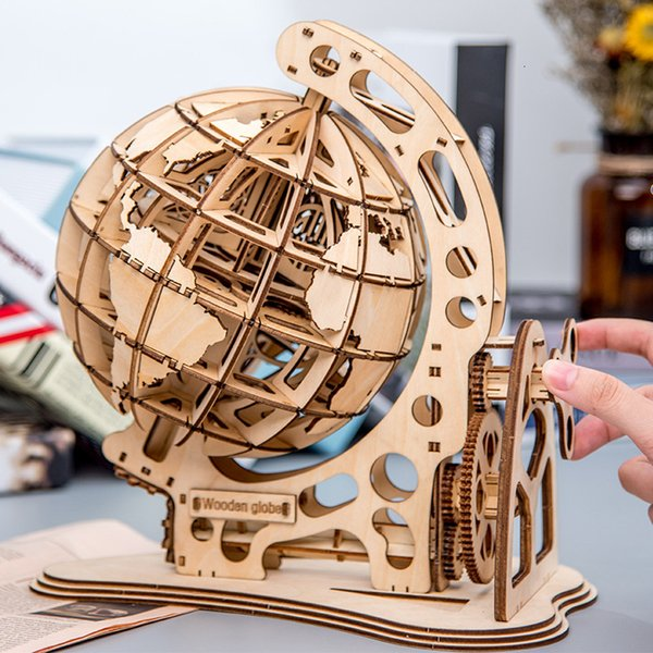 top popular Wooden Globe Puzzle 3D DIY Mechanical Drive Model Transmission Gear Rotate Assembling Puzzles Home Office Decoration Toys T191116 2020