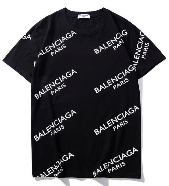 2019 New Tee black cotton whole body letter logo print short sleeve O-neck T-shirt men and women t shirt wear casual tee S-XXL