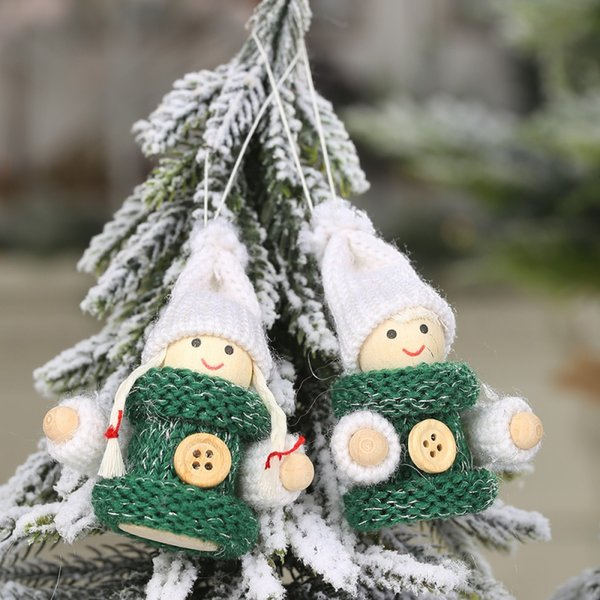 1 Pair Christmas Pendants Wood Dolls With Knitted Hat And Cloth Decorative Hanging Ornaments Home Decorations Adornos De Navidad