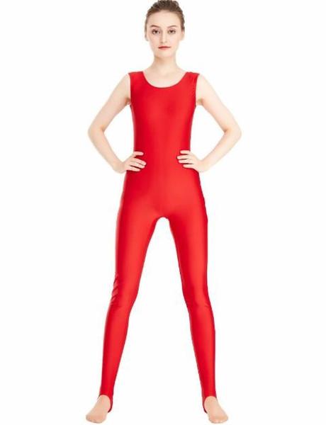 Women's Lycra Spandex Dance Yoga Gymnastics Catsuit Tank Unitard Stirrup Sleeveless Leotard Full Body Bodysuits Ballet Jumpsuit