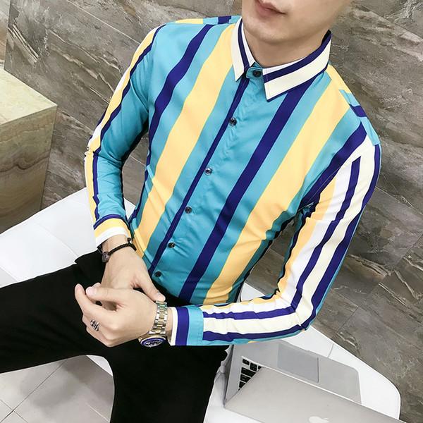 Men spring autumn fashion striped shirt Korean style casual slim fit shirts blouse man nightclub party stage costume streetwear