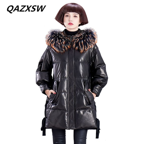 QAZXSW 2018 New Women's Winter Genuine Leather Outer Leather Down Jacket Braid Hair Long Sheep Skin Thick Warm Hooded Coat LE294
