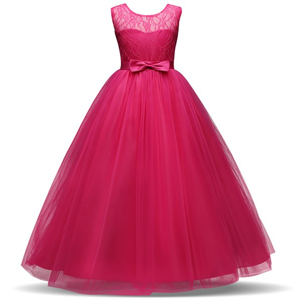 Kids Flower Girl Wedding Bridal Dress For Christmas Party Kids Girl Elegant Events Prom Dress Tutu Party Bow Dress 8 10 12
