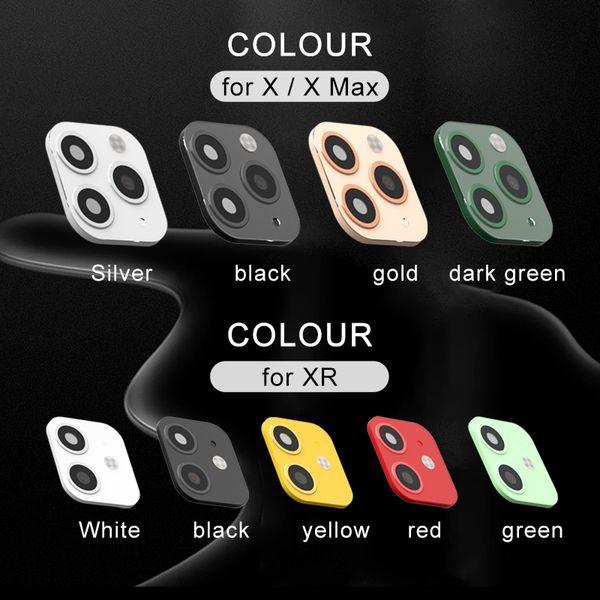 Metal Alumium Protector tampa da câmera Lens Capa Para Segundos iPhone X XS XR Alterar 11 PRO MAX Lens Etiqueta Suporte a Flash