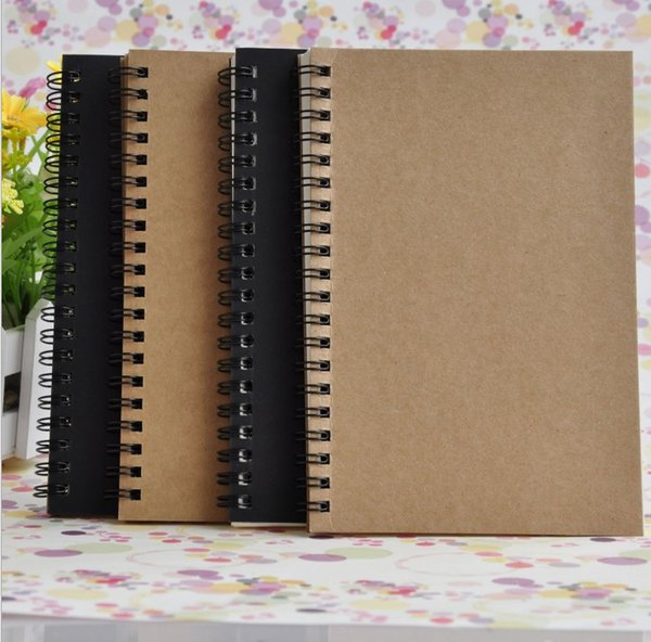 21x14cm Kraft Paper Notepad Office school Supplies Creative Sketchbook Graffiti Notepads Blank coil Notebook outdoor travelling pocket dairy