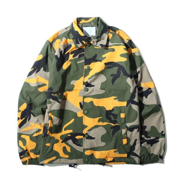 Chaqueta de camuflaje Hip Hop Hombres 2018 Estilo de moda Abrigo Diseño de un solo pecho Ropa de abrigo de camuflaje de talla grande