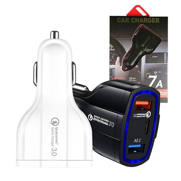 QC3.0 Mini Double Chargeur De Voiture USB 2 Port Chargeur Double Prise USB Adaptateur De Recharge Universel Type C Chargeur Rapide Charge rapide