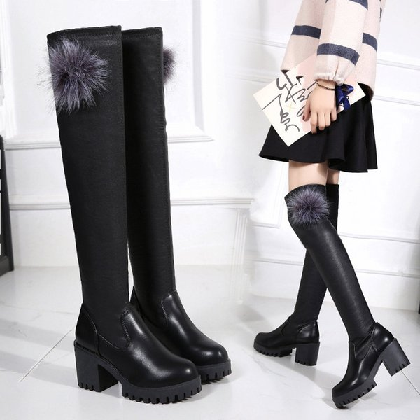 leather thigh high long suede quilted with hills thick heel platform fashion flat black famous brand boot shoe femme feathers