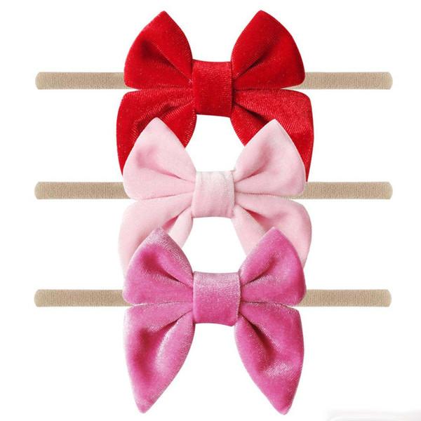3'' Velvet Bow Nylon Headbands For Girls Smooth Velvet Hair Bow Elastic Skinny Khaki Nylon Hair Band Hair Accessories 10pcs