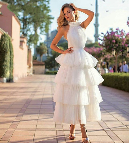 New Arrival Tiered Tulle Prom Dresses 2019 White Pink Black Custom Made Tea Length Elegant Women Formal Party Gown vestido gala