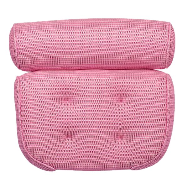 top popular Suction Up Bath Tub Pillow Spa Cushion Neck Shoulder Relaxation Massage Pink 2021