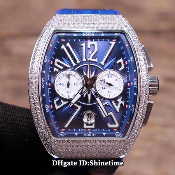 Melhor Edição SARATOGE YACHTING V45 CC DT Yacht OG Azul Dial Japão Quartz Chronograph Mens Watch Silver Diamond Caso Leather Strap Relógios
