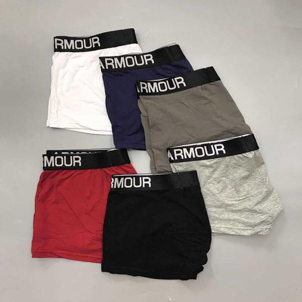 top popular Men U&A Stripe Underwear Breathable Cotton Embroidery Angle Underpants Under Mens Cuecas U Convex Designer Short Pants Armor Brand Boxer New 2019
