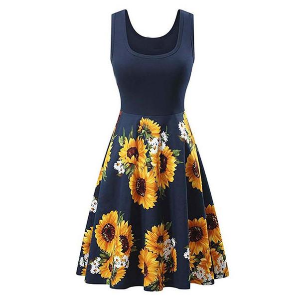 Damenkleider Ärmellos Neck Patchwork Kleider Vintage Elegant Sunflower A-Line Damen Kleid Vestidos Robe Femme May23
