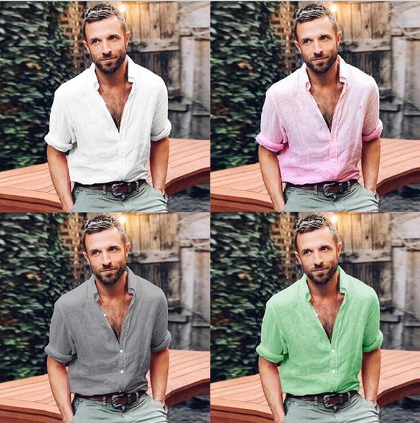 2018 spring and autumn European and American men's shirts solid color casual long-sleeved button lapel shirt