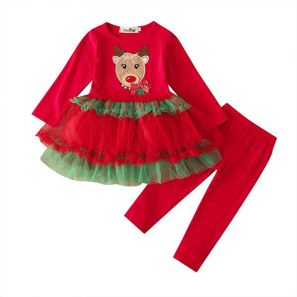 venta caliente chica muchachas de los juegos de Navidad ropa de bebé de dibujos animados manga larga vestidos + polainas 2pcs / set niña navidad trajes A9775