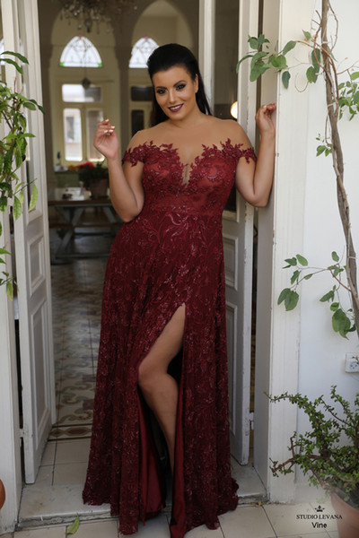 Burgundy Beaded Plus Size Lace Prom Dresses Sheer Off The Shoulder Evening  Gown A Line Side Split Floor Length Formal Dress Club Dresses Debs Dresses  ...