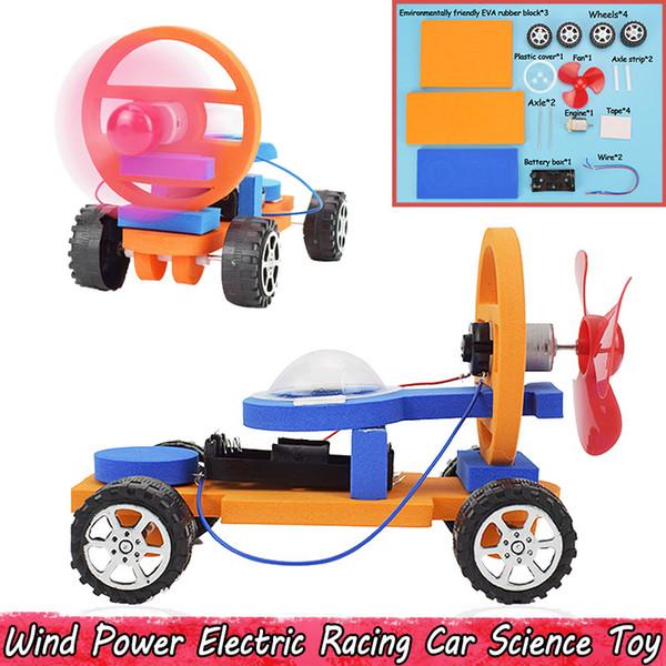Energia eólica experiência de carro de corrida elétrica brinquedos científicos para crianças diy montagem educacional modelo de carro kits brinquedos presentes favores do partido