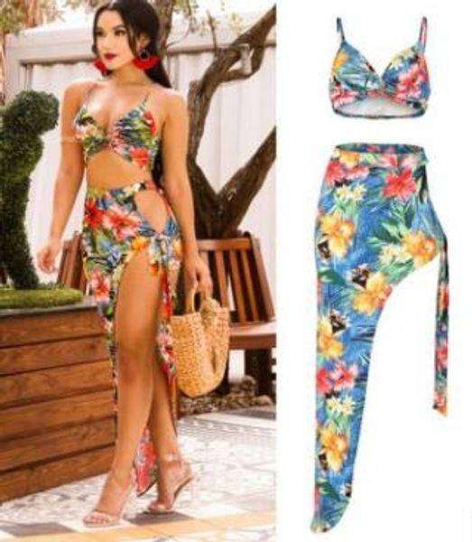 Mulheres Beach Floral Vestidos Bras Férias Femininas Split Up Vestido 2pcs Conjuntos de Roupas Club