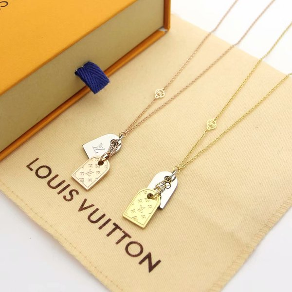 best selling V letter double tag engraved four-leaf flower color necklace luxury designer jewelry women necklaces necklace for women