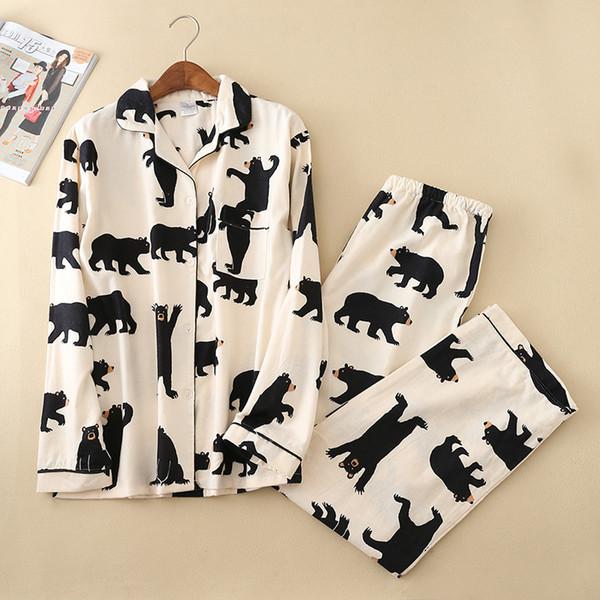 Ours blanc mignon 100% coton coton pyjama costume costume automne service occasionnel de la mode des hommes pyjamas des hommes à domicile sexy pijamas mujer