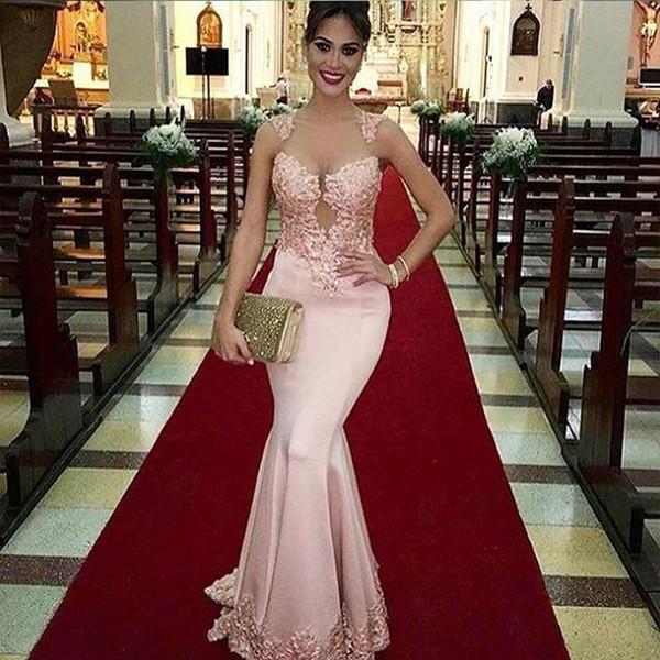 Moda Konuk Seksi Nedime Elbisesi Illusion Kırmızı Halı Vestido De Festa Dantel Mermaid Uzun Pembe Saten Balo Aplikler Parti Akşam elbise 2020