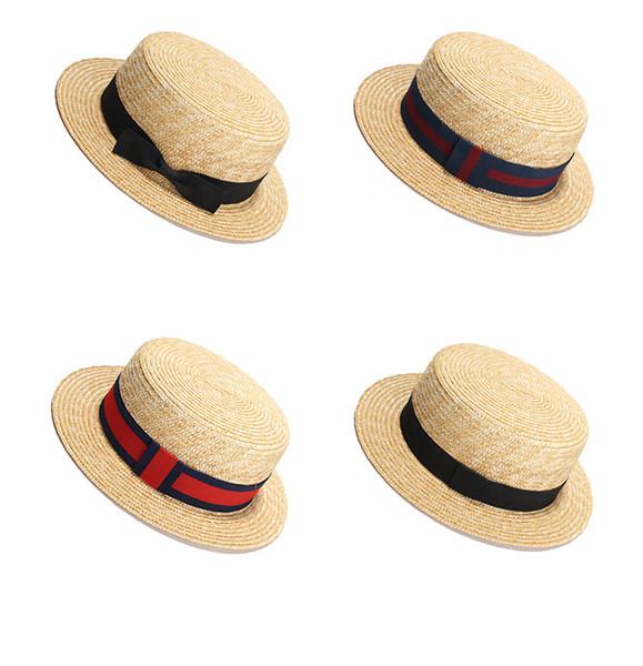 Women Straw Beach Sun Hat Fashion Elegant Lady Bowknot Round Top Flat Homburg Outdoor Travel Sun Cap LJJT617