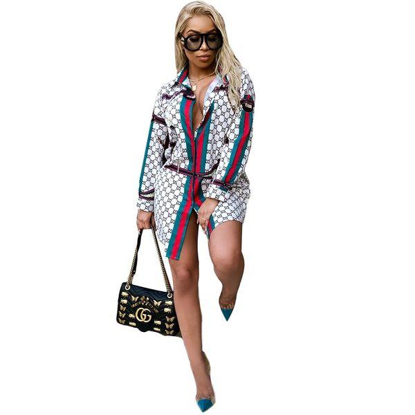 Women 2019 Hot Sale Dresses Fashion Printi Casual Lapel Neck Shirt Dresses Long Sleeve Summer Mini Dresses Lady Sexy Skirt 3XL-5XL Plus Size
