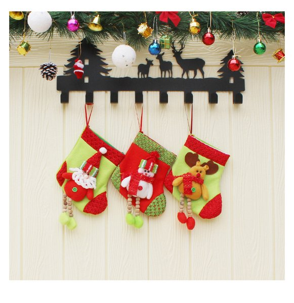 Long Leg ReinDeer Christmas Stockings Nonwoven Christmas Gift Bags Xmas Tree Ornament Stockings 50 Pieces DHL