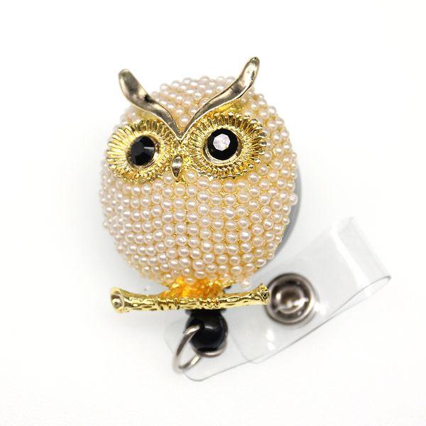 10pcs/a lot Hot sell animal pearl luxury cartoon owl Rhinestone yoyo ID badge Holder Reel
