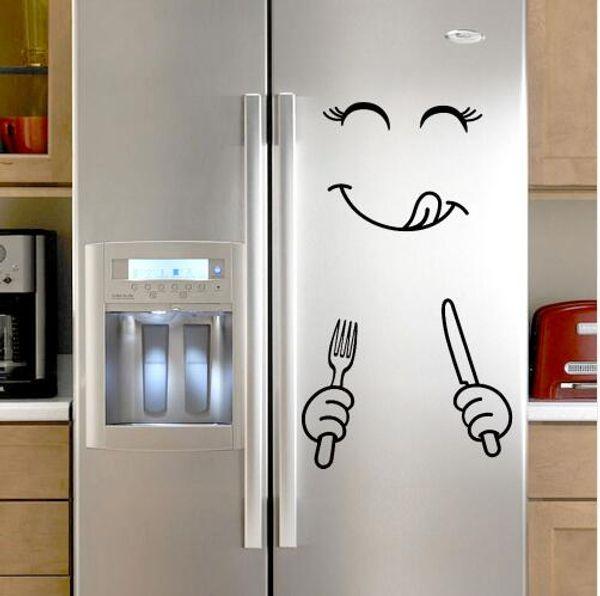 Adesivo carino Frigo Happy Delicious Face Kitchen Frigorifero parete adesivi in vinile Adesivo Art Decalcomania Home Decor Dropshipping
