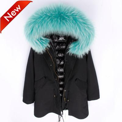 New arrival Women's Black Long Jacket hooded with Removable Large Raccoon fur collar & down liner Sweden dunjacka @cheapsneakers