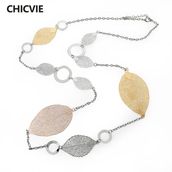 endants for women CHICVIE Vintage Long Statement Necklaces Gold Color Leaves Necklaces & Pendants for Women Jewelry Vintage Accessori...