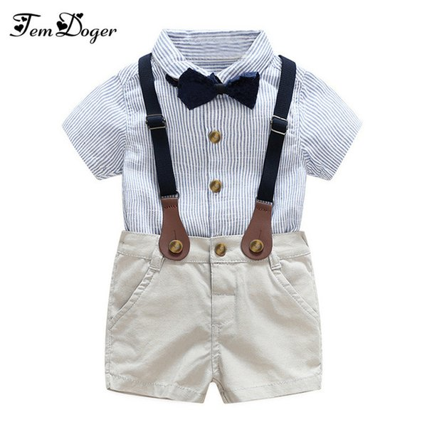 Gentlemen 3pcs Outfits 2017 Summer Newborn Baby Boy Clothing Sets Tie Shirt+overall Infant Clothes For Party Wear J190521