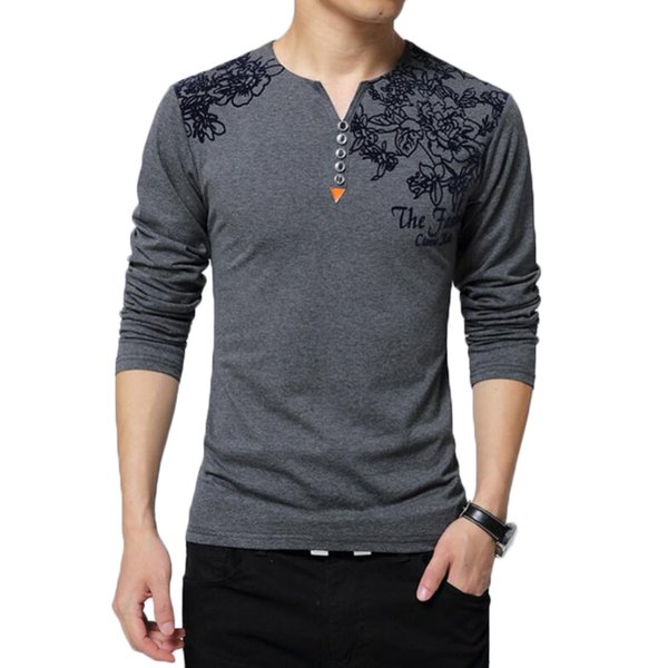 Floral Print Tshirt Men Fashion Henry Collar Button Decorate Long Sleeve T Shirts Mens Spring Autumn Cotton Tops Plus Size 5xl
