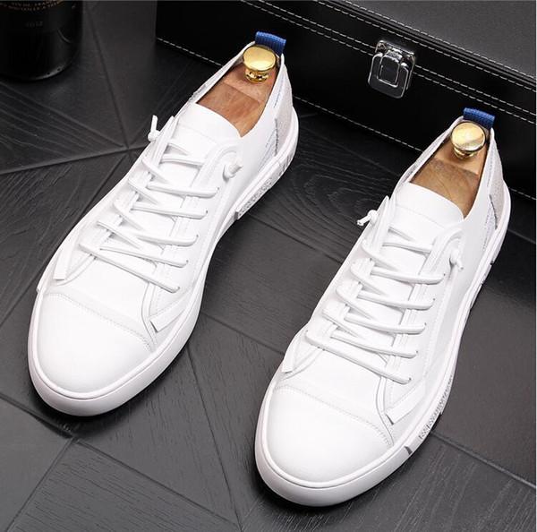 2019 İtalyan klasik beyaz erkek düz ayakkabı açık erkek ayakkabı moda erkek rahat ayakkabılar orijinal 38-43