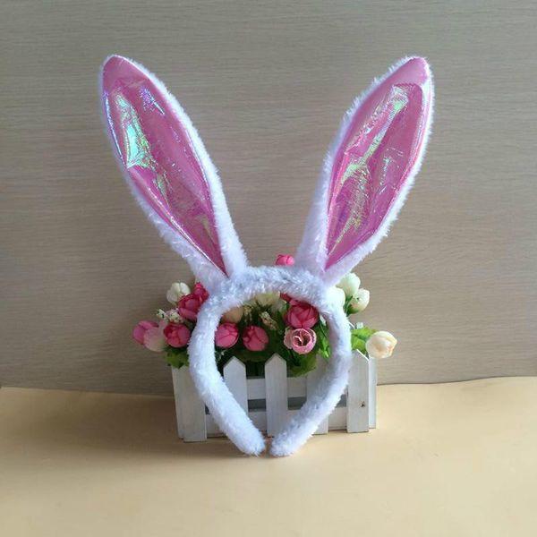 Пасха одеваются флэш кролик повязка на голову блеск милый пушистый кролик ухо мяч ну вечеринку кролика головной убор блестки девушка игрушка шпилька для волос палочки