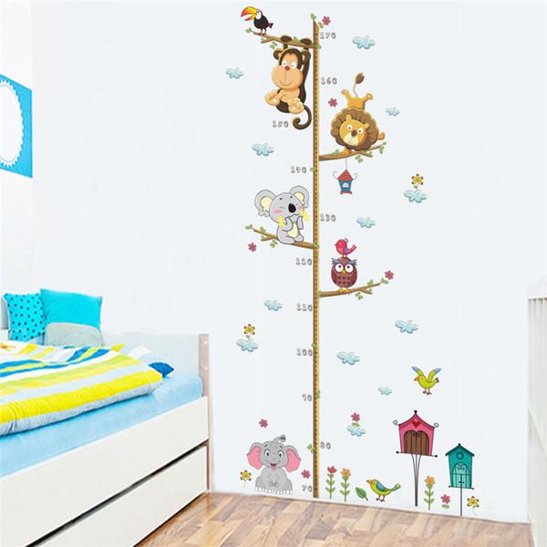 Animales de dibujos animados León Mono Búho Elefante Altura Medida Etiqueta de la pared Para habitaciones de niños Tabla de crecimiento Decoración de la habitación del cuarto de niños Arte de la pared SY0117