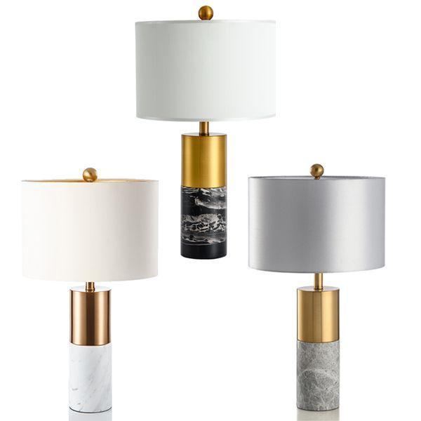 Lampe de table décorative en métal de luxe américain moderne style chinois salon étude chambre simple jazz lampe de table en marbre blanc