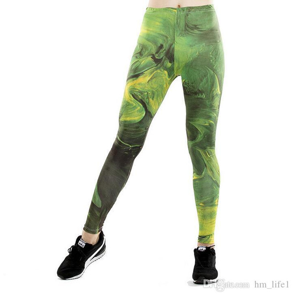 Women Yoga trousers pants Tights trousers Female High waist dance color active Leggings printing Painted Skinny silm motion Fitness