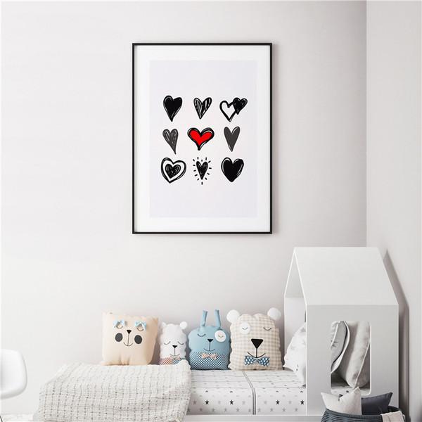 Satın Al Aşk Kalp şekli Kroki Minimalist Sanat Tuval Boyama Hd Duvar