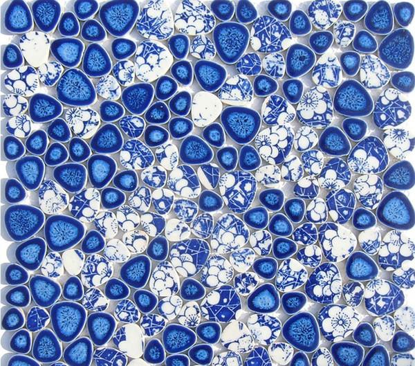 Acheter Bleu Blanc Galet Porcelaine Mosaique Cuisine Carrelage Mural Dosseret Salle De Bains Carrelage En Porcelaine Forme De Coeur Mosaique De 14 57