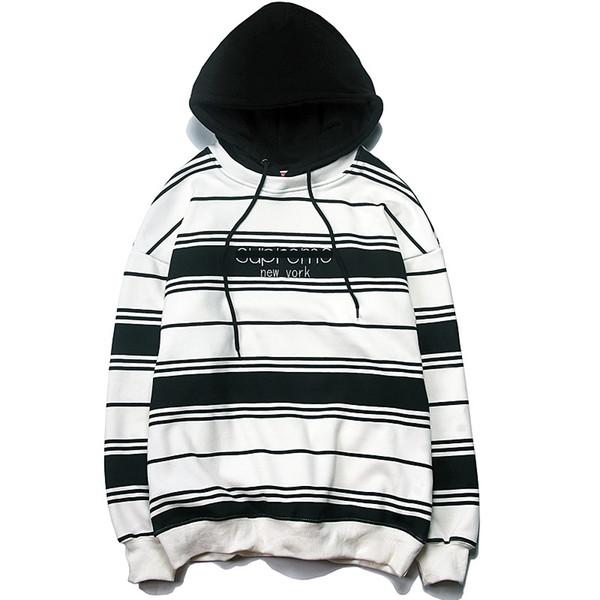 Acheter Sweat À Capuche De Marque Suprême Pour Hommes Version US Noir Et Blanc À Rayures 19 Nouvelle Mode Luxe Couple Sweatshirt Casual Pull Sauvage