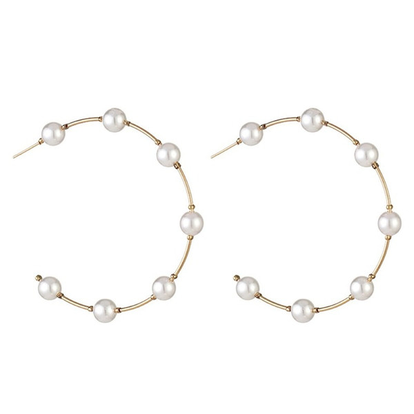 exaggerated big circle round statement earrings for women fashion gold imitation pearl hoop earring multi bead oorbellen jewelry, Golden;silver