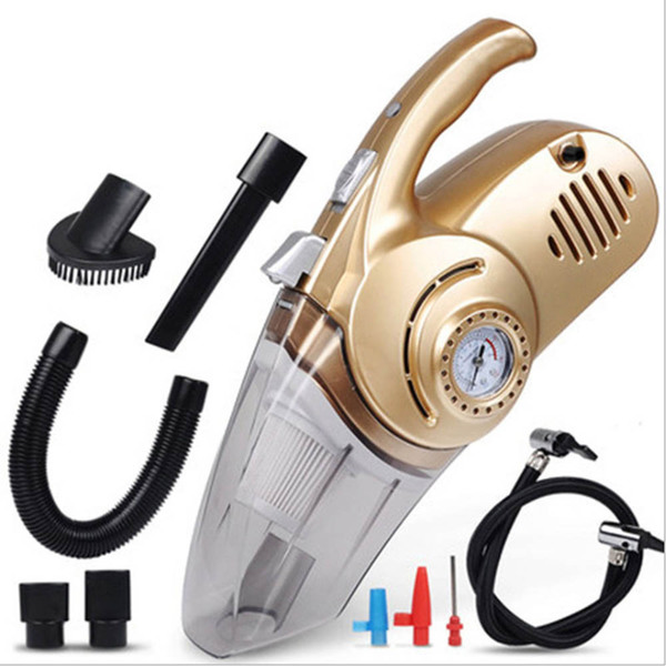4 in 1 Multi-function Car Vacuum Cleaner with LED Light 12V 120W Portable Tire Inflator Pump Pressure Wet and Dry Use Aspirateur