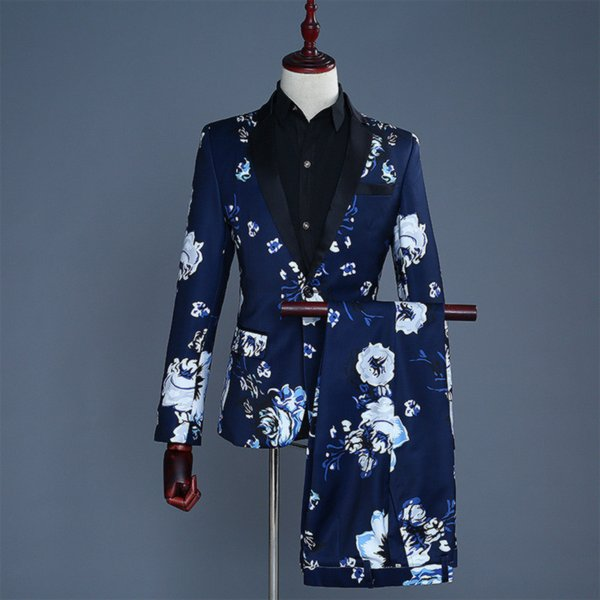 Terno dos homens 2 peça set (jaqueta + calça) azul dos homens de impressão floral moda casual terno mais recente banquete de casamento de qualidade dos homens vestido