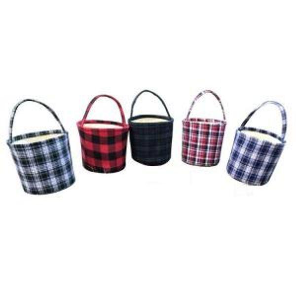 Easter Basket Plaid Easter Bucket Handmade Reversible Fabric Storage Basket Candy Bags Kids Handbags Plaid Picnic Buckets Bag GGA1649
