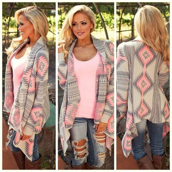 New Fashion Women New Fashion Aztec Printed Long Sleeved Casual All-match Cardigans drop shipping good quality